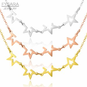 FYSARA Trendy Hollow Stackable Star Charm Necklaces For Women Fashion Jewelry Stainless Steel Geometry Chokers European Necklace