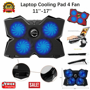 "17"" Laptop Cooling Pad 4 Quiet Fans Cooler Chill Mat LED-Licht Adjust-Halter-Hub mit 2 USB-Port USB Powered"