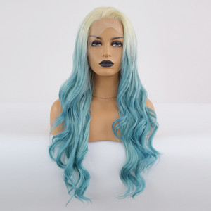 Wholesale Body Curly Lace Front Wig Ombre Blue Hair Heat Resistant Fibers Synthetic Lace Front Wig Glueless Half Hand Tied for All Women