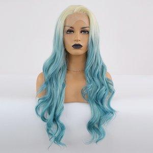 Atacado Corpo Curly peruca dianteira do laço Ombre cabelo azul calor fibras resistentes sintética peruca dianteira do laço Glueless Metade mão amarrada para todas as mulheres