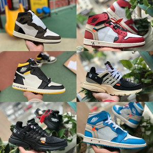 2019 Nuovo Travis Scotts X air jordan 1 off High OG Mid Scarpe da basket economici Royal Banned Bred Black White Toe Uomo Donna 1s Not For Resale V2 Presto Scarpe
