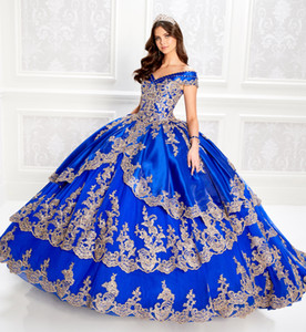 Luxury Quinceanera Dresses Off Shoulder Lace Appliques Beads Satin Girl Pageant Party Gowns Lace-up Back Ball Gown Sweet 16 Prom Dress