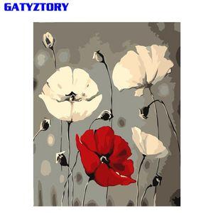 Ev Dekorasyonu İçin Benzersiz Hediye Boyama Sayı Takımı Modern Wall Art Tuval Handpainted Oil tarafından GATYZTORY Özet Çiçekler Diy Boyama