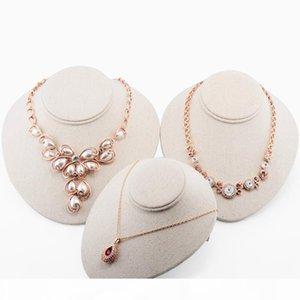 Busto superior del grado collar pendientes de lino Maniquí joyería del sostenedor del soporte de exhibición del estante fotografiado Puntales cuello Modelo