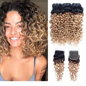 1B 27 Ombre Blonde Clicure Brazilian Water Wave Hair 4 번잡이가있는 금발 곱슬 머리 묶음 LaCE Closure Remy Human Hair Extensions