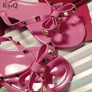 Brands Women Rivets Bow knot Flat Slippers sandals Girls Flip Flops studded Summer Shoes Cool Slides Jelly Shoes 35-41 r08