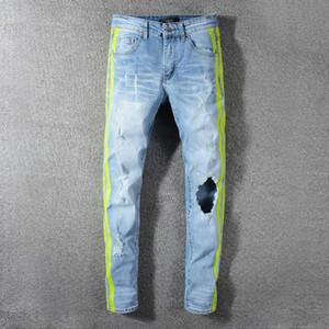 Высокое качество дизайнерские мужские Амири прилив прямые брюки мода повседневная одежда лето отверстие джинсы хип-хоп стиль Homme одежда твердые #593