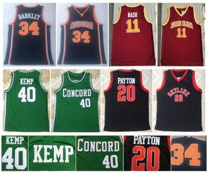 34 Charles Barkley Jersey 11, Steve Nash 40 Shawn Kemp 20 Shawn Kemp Santa Clara Koleji Concord Akademisi NCAA Kolej Basketbol Formalar