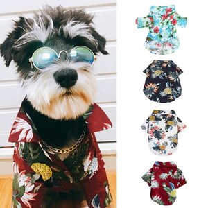 Dog Hawaiian Shirt Cotton Summer Beach Clothes Vest Short Sleeve Pet Clothes Floral T Shirt For Dogs Chihuahua