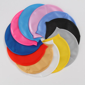 16 cores de silicone à prova d'água Natação Caps Proteção de orelha Cabelo Comprido Sports Swim Pool Hat Cap Natação grátis 300pcs CCA11477 Tamanho