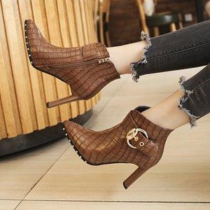 Sıcak Satış Sonbahar Yeni deri Çizme Kadınlar Fermuar Tok Sivri Burun İnce Topuk Ayakkabı Yumuşak Boş Rahat Parti Bootis tokası