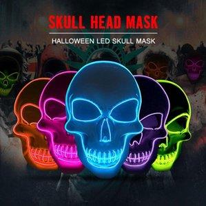 Cráneo de Halloween de luz LED Máscara creativa Party la luz de neón Hasta cosplay del horror del partido que brilla Herramientas máscaras de la danza 10 colores
