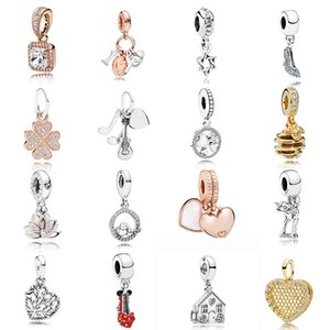 NEW 2019 100% 925 Sterling Silver pandora Rose Gold Family High Heels Heart Shape Tree Pendant Fit DIY Original Women Bracelet Jewelry