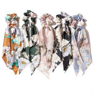 Bandas Flor Scrunchies pelo de la vendimia impresa de las mujeres Accesorios lazos del pelo de Scrunchie Ponytail de la cuerda de goma Gran Arco largo