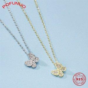 Colar gargantilhas POFUNUO 925 borboleta prata esterlina colar de pingente Simplicidade Meninas estudantes Zircon Inloy Fine Jewelry