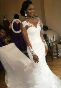 Robe de mariée sexy v cou pas cher à manches longues pour femmes noires femmes mariée dentelle applique sirène tulle chapelle train robe de mariée robe de mariée