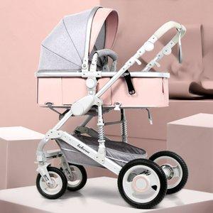 Регулируемая Lightweight Детская коляска 3 в 1 Портативный Высокий ландшафтной Реверсивный прогулочная коляска Hot Mom Pink Travel Pram