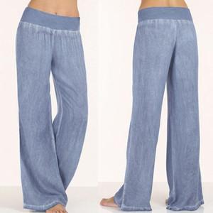 Celmia Модные женские джинсовые брюки повседневные свободные эластичные Высокая талия широкие брюки Брюки низы Pantalon Femme плюс размер Palazzo 5XL