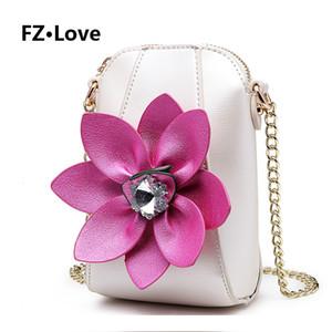 Borse Cuoio Fiore 3D borsa Diamanti Piccolo Crossbody Mini telefono delle cellule del cellulare per le donne del raccoglitore delle signore con le borse Chain