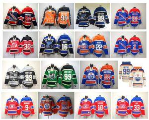 Eski Zaman Hoodie Hokeyi Jersey 99 Wayne Gretzky Edmonton Oilers Mike Bossy Brett Hull Martin Brodeur Brian Leetch Los Angeles Kings Kazak