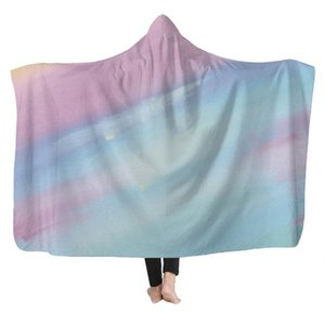 Rainbow Imprimir prueba de frío con capucha Manta adultos de los niños cómodos suaves calientes de la cubierta principal Manta capa con capucha