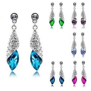Luxury 925 Silver Diamond Earrings Sparkling Austria Crystal Dangle Long Earrings for Women Wedding Bridal Jewelry Gifts