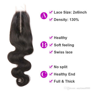 2*6inch body wave hair extension virgin human hair lace closure natural color peruvian remy hair lace closure 8-20inch free shipping