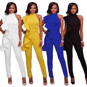 Длинные брюки комбинезон летний комбинезон новых женщин моды женские дизайнерские Rompers воланы сплошной цвет без бретелек Скинни