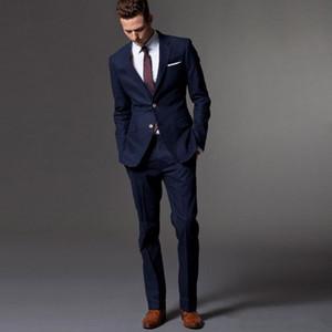 Новый Best Slim Fit синий Groom Tuxedos Groomsmen Две кнопки Side Vent Мужские Формальные костюмы Бизнес Пром костюм Customize (куртка + брюки + галстук) 817