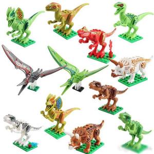 Dinosaur Model Toys 12 unids Jurassic World Park Movie Triceratops Tyrannosaurus Model Building Blocks Juguetes para niños Artículos de novedad regalos de navidad