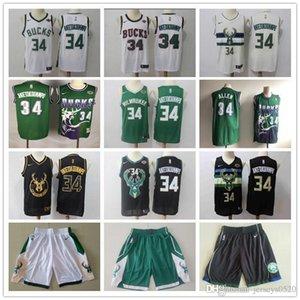 Hommes MilwaukeeBucksThrowback Jersey Ray Allen 34 Giannis 34 Antetokounmpo Basketball Shorts Basketball Maillots vert noir blanc