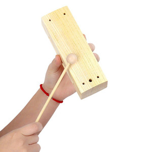 Wooden Percussion Block Woodblock with Mallet Exquisite Kid Children Musical Toy Percussion Instrument