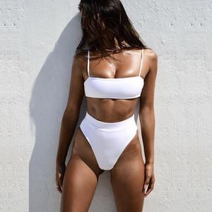 Sexy Sólido Preto Cintura Alta Biquíni 2019 Swimwear Mulheres Bandeau Bikinis Set Push Up Swimsuit Tanga Desgaste de Natação para Maiô