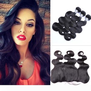 Brazilian Body Wave Human Hair Wefts with 13x4 Lace Frontal Ear to Ear Full Head Natural Color Can be Dyed Human Hair Wefts