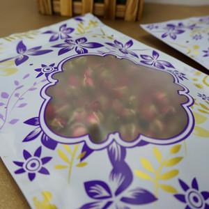 Arachide Paquet Zip d'étanchéité fleur pourpre imprimé Ziplock Sac de rangement Sac avec Matte Transparent Window Sacs en plastique