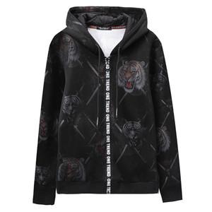 Super Cool Hoodies Sweatshirts For Men Winter Thick Hip Hop Men's Jackets Casual Zip up Hoody tiger printed Coats Top Man Clothing