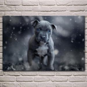 Nero cucciolo occhi azzurri simpatico cane ritratto manifesti tessuto salone decorazione della parete di arte casa decorazione telaio in legno KL904