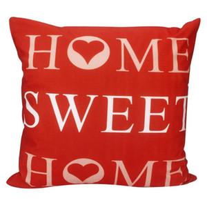 Creativa impresión de la letra funda de almohada del sofá de la cintura Throw Cojín Decoración para el Hogar (Home sweet home, rojo)