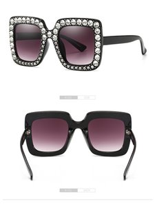 Neueste Dame Übergroße Quadratische Sonnenbrille Strass Reflektierende Gläser Für Frauen Luxus Rosa Sonnenbrille Square Eyewear UV400 5702