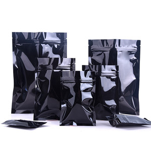 7 Größen erhältlich Schwarz 100 teile / los Aluminiumfolie Heißsiegel Probe Pakete mit Reißverschluss Wiederverschließbare Mylarfolie Reißverschluss Lebensmittelqualität Aufbewahrungsbeutel
