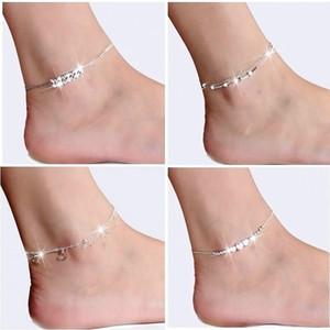 Nuovo braccialetto alla caviglia scheggia 925 per intarsiato zircone braccialetto Cavigliere donne Jewelry piedi su una gamba di regalo di personalità