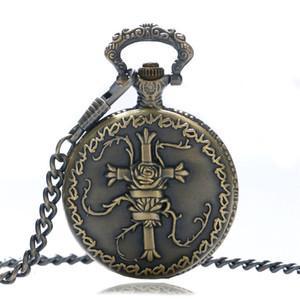 Antique Bronze Men's Pocket Watch 3D Cross Design Quartz Analog Clock with Necklace Pendant Chain reloj de bolsillo
