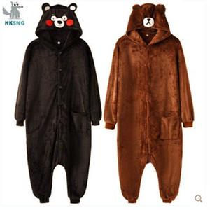 HKSNG медведь Onesies мультфильм фланель Русых животных для взрослых кумамона Хэллоуин Пижамы Косплей костюмы Комбинезоны Y200107
