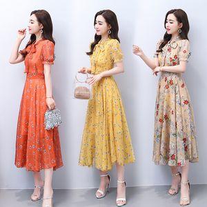 summer women's long silk dress floral chiffon Super fairy beach big swing Skirt woman Lantern Sleeve dresses