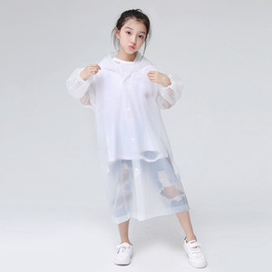 Kids Hoodies Rain Coats Eva Transparent Waterproof Traveling Must Poncho Raincoat Emergency Disposable Rainwears Protective Clothing RRA3080