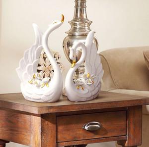거실 커플 하우스 장식을위한 세라믹 커플 꽃병 동물 가구 기사