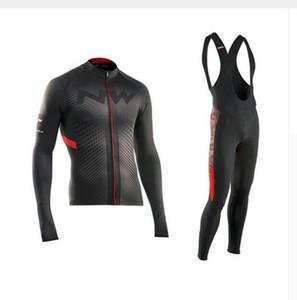 2019 Por Equipo NW Northwave Ciclismo Maillot de manga larga Set Ropa Ciclismo GEL los pantalones del babero del kit de otoño / invierno ropa de la bici MTB