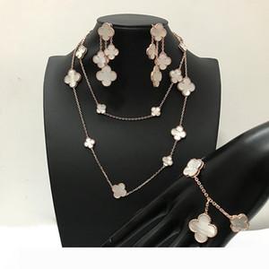 여성 결혼 목걸이 팔찌 귀걸이 흰색 어머니 진주 쉘 클로버 보석 패션 브랜드 925 실버 네 잎 꽃 보석 세트