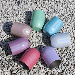 12 온스 달걀 껍질 컵 다채로운 계란 모양 컵 전락 무지개 스테인레스 스틸 잔 레드 와인 칵테일 커피 잔 LJJA2939