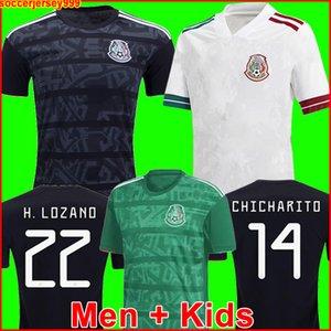 TOP México mexico camiseta de fútbol visitante blanco Camisetas 20 21 CHICHARITO LOZANO DOS SANTOS 2020 chandal de fútbol Hombres + Niños kit uniformes maillots de la